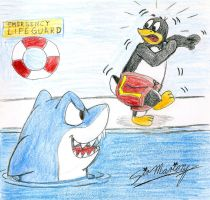 Shark scares to penguin in swim pool by SAGADreams