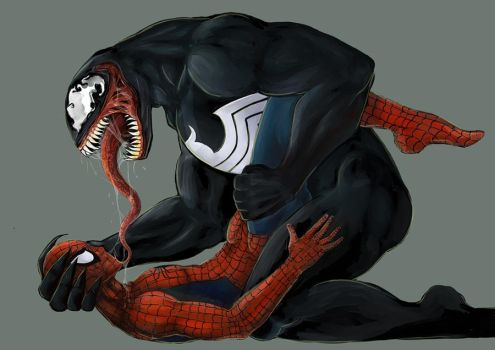 Venom and Spider-Man by VioletDragonSlayer