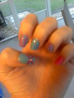Blue and Pink Nails by MissDaniLips