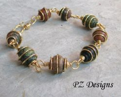 Spiral Cage - Beaded Link Bracelet by PurlyZig