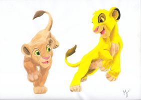 Simba and Nala by DeLeilasenpei