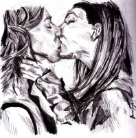 Willow and tara's Kiss again by LJ5784