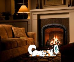Masie by the fire when she was a kitten by KillianCreation