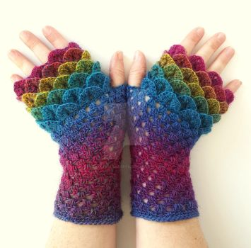 Spectrum Dragon Gloves by FearlessFibreArts