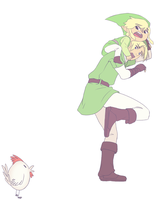 Link and Link VS Cucco by KatawDraws