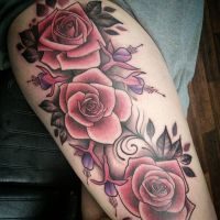 roses and fuschias thigh piece by ROCK-ALI