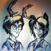 Prongs and Padfoot by AwesomeBiscuits
