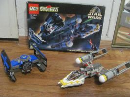 LEGO TIE Fighter and Y-Wing together by ZeldaTheSwordsman