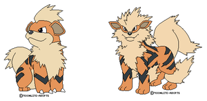 Growlith and Arcanine Bases by moonlite-adopts