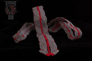 Macrame Cotton Necktie - Grey Red by Michael-XIII