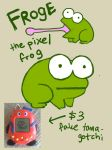 Froge the melancholy pixel frog by SilkenCat