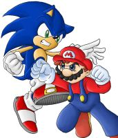Generic Mario VS Sonic drawing by Ian-the-Hedgehog