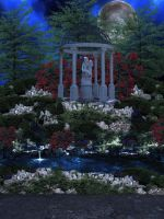 The Garden Pond with path by moonlight by VIRGOLINEDANCER1