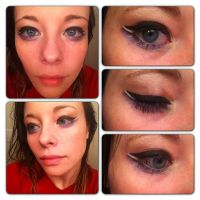Winged eye with black white violet and silver! by allikayyyy