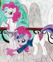Request - Pinkie skirted, Twilight split by wjmmovieman