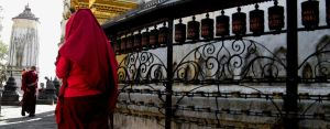 Prayer wheels at temple by hardwayjackson