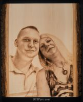 Couple portrait - Nov/'14 - Handcrafted woodburnig by brandojones