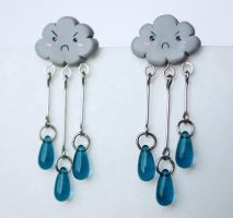 Grumpy Raincloud Earrings [fimo] by PaleMint