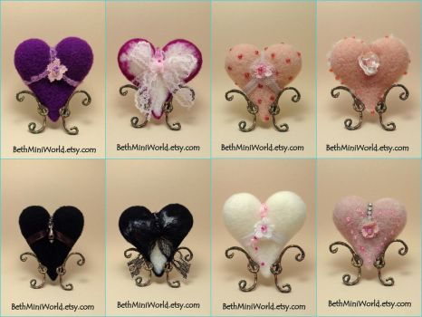 Needle Felted Heart Pillows by BethMiniWorld