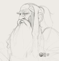 Dwarf Portrait Sketch by DamonWestenhofer