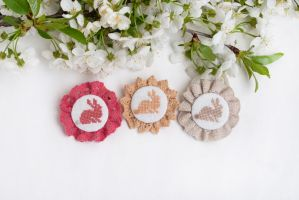 Bunnies brooches by freedragonfly