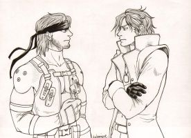 Solid Snake v Liquid Snake by DeannaEchanique