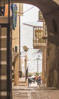 Vieste narrow view with sea by st2wok