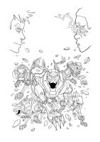 Voltron force vol4 cover ink by ultrachicken