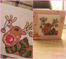 Happy Christmas Reindeer - Cross Stitch by laaputa
