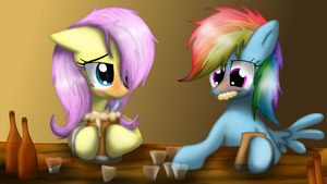 Rainbow Dash and Fluttershy go drinking by LupiArts