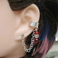Silver and Red Heart Earring by merigreenleaf
