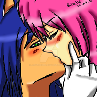 SonAmy Kiss (Human Style) by amyrose116