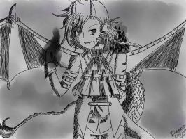 Black and White image(Novalis the Dragon Follower) by Artistic-Sofie
