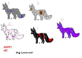 FOX ADOPTABLES! 2 POINTS EACH by prussianwolf13