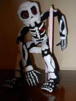 Skeleton Sock Doll with Polymer clay by GhoulieDollies