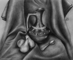 Still life with ewer and pears by AnastasiyaKosenko