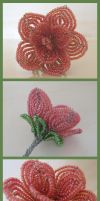 Beaded Pink Rose - WIP by vivee