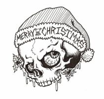 Xmas Skull by HorribleBlack