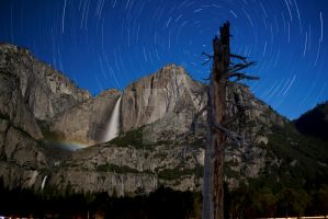 Lunar Rainbow on Yosemite Falls and Star Trails by jawspinkid