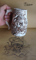 Viking Skull Beer Mug by kachaktano