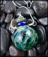 Blown Glass Bottle Pendant by andromeda