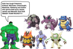 Hulk's Pokemon team by darthraner83