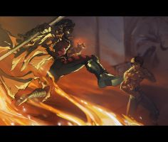 Enter the Dragon: Bruce Lee vs Gambit, Fight! by AskarZiel