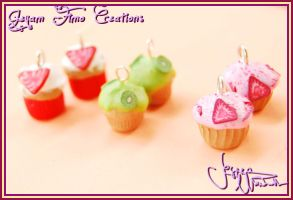 Colorful Cupcakes - Earrings by Jeyam-PClay