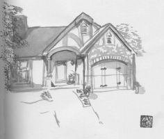 Sumi-E Ink Painting of a House by JupiterAH2