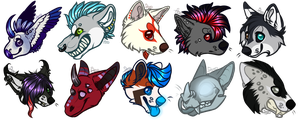 [C:] .: Chibi Head Batch 2 :. by SillyTheWolf
