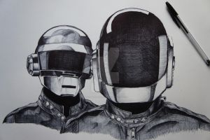 Daft Punk in Ballpoint by plasmaterialll