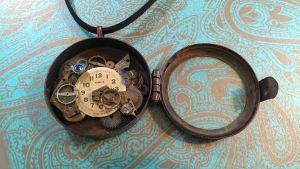 Steampunk Locket Yellow Butterfly Necklace by xxPRECIOUSMOMENTSxx