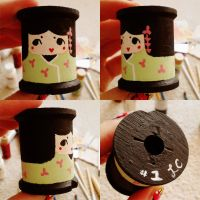 little kokeshi vintage bobbin by hellohappycrafts