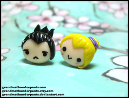 Shika/Ino Earrings by GrandmaThunderpants